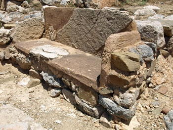 Zakros: a bench in the Minoan town